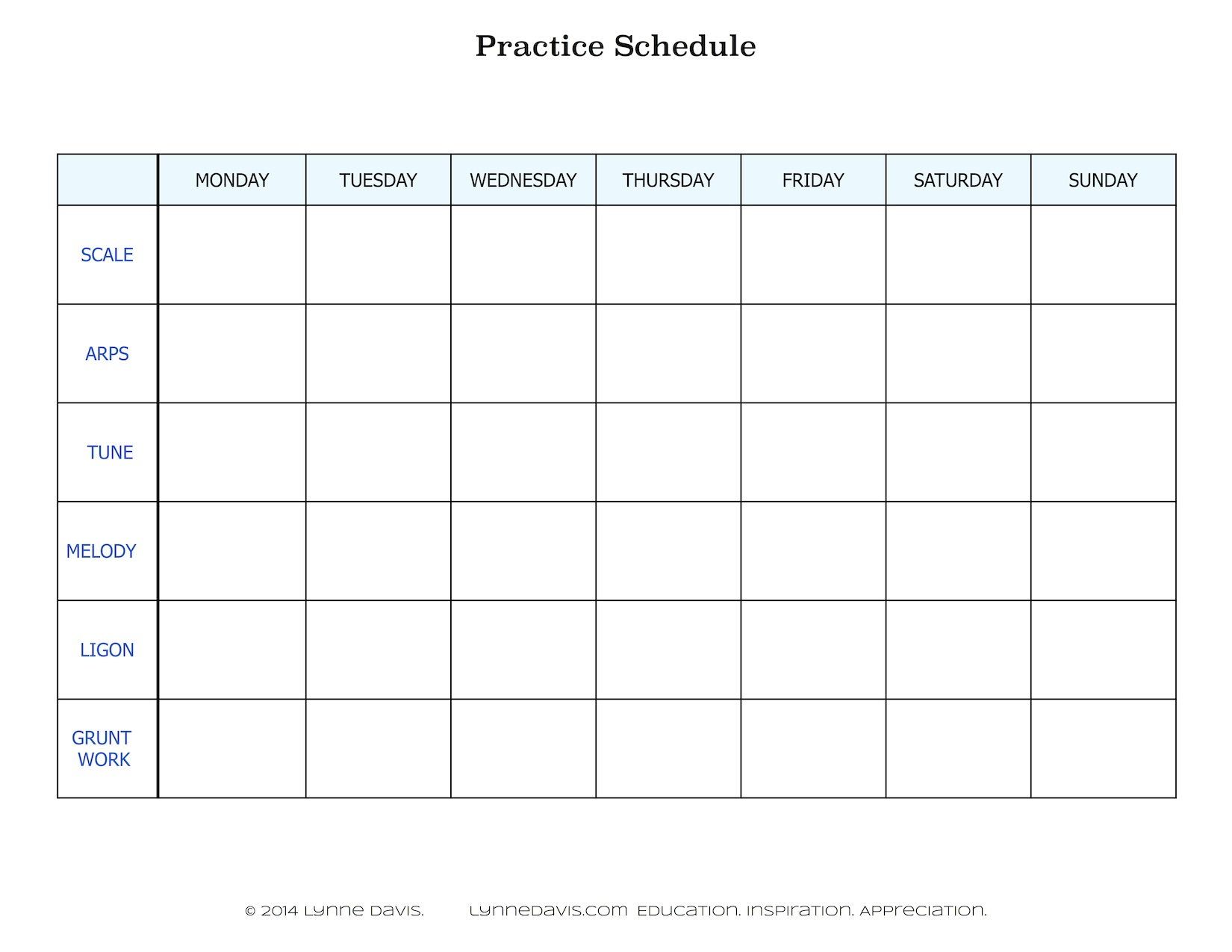 This is an image of Magic Printable Music Practice Log