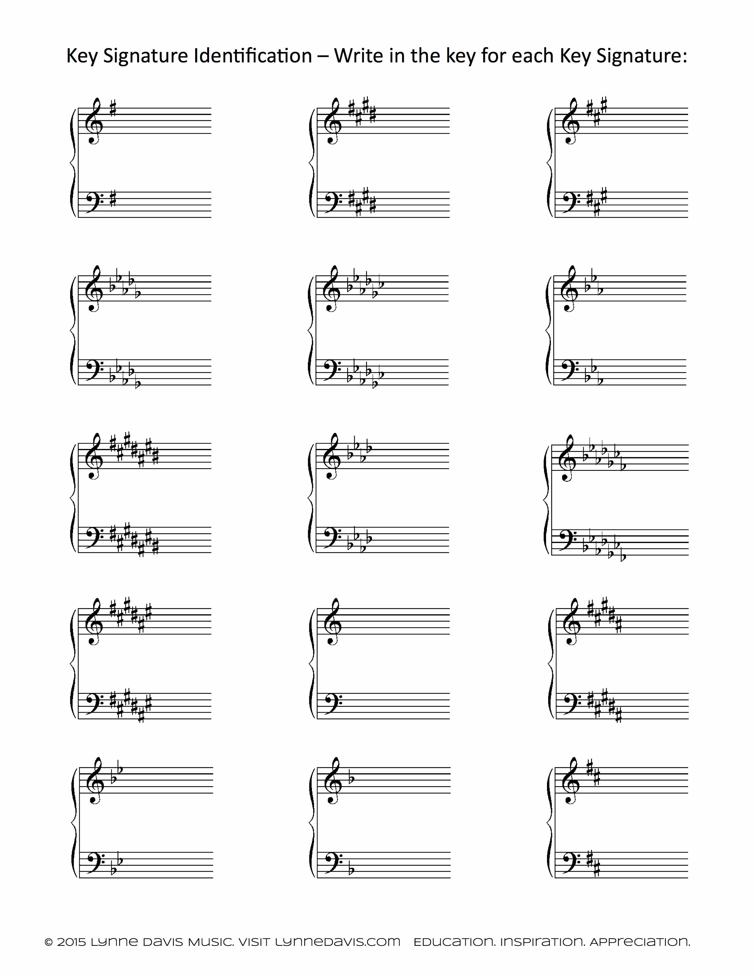 key signature identification worksheet lynne davis music. Black Bedroom Furniture Sets. Home Design Ideas